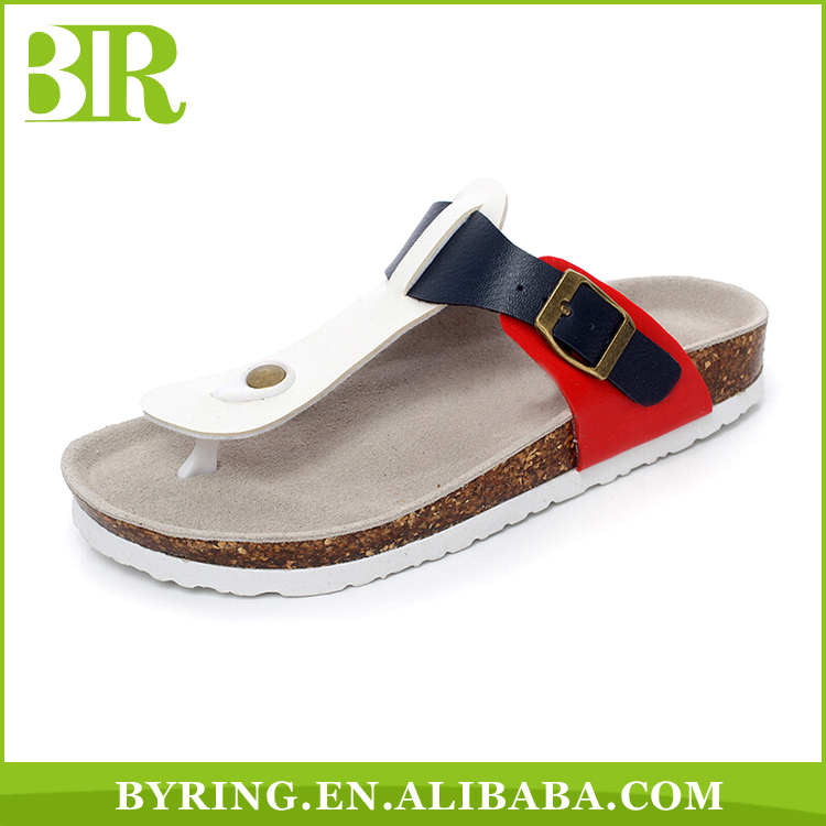 Wholesale PU upper casual cork sole slippers classical flip flops for men