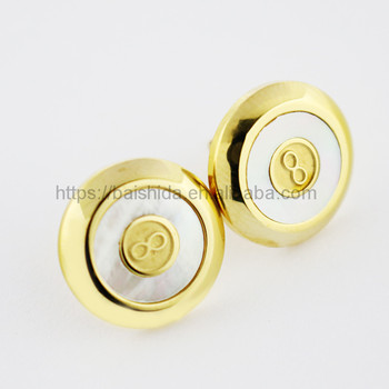 round shaped gold color medical steel earrings for women
