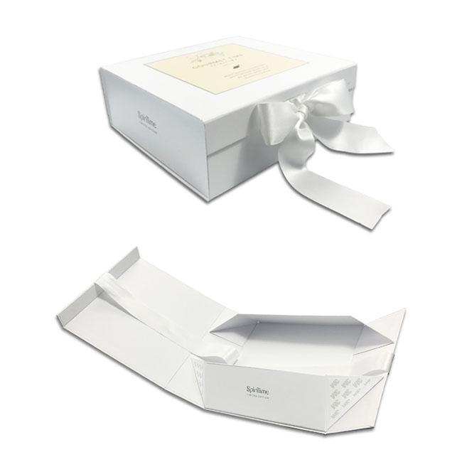 HC Verpackung Neue Produkt Großhandel Benutzerdefinierte Weiß Magnetische Geschenk-boxen Falten Papierkasten mit bindeband