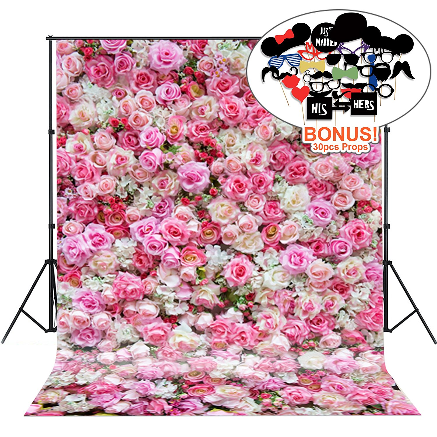 Photo Backgrounds with Photo Booth Props, MeeQee 5X7ft Photography Backdrop Pink Red Rose Flowers Spring Photography Background for Wedding, Party, Mother's Day, Baby Shower, MQ-VA3