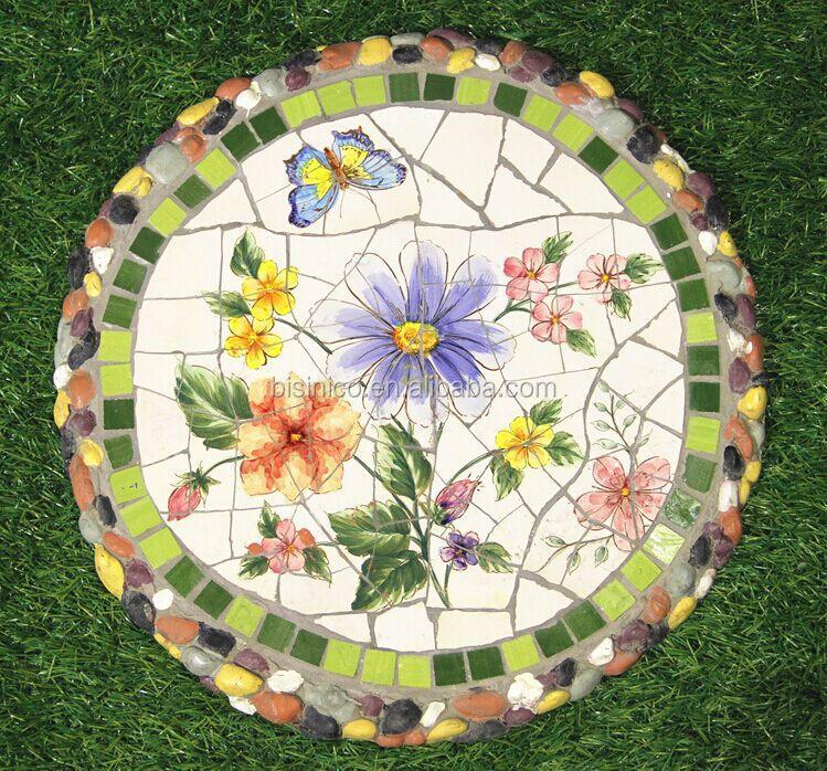 Mosaic Garden Stones: Ceramics Mosaic Stepping Stone, Mexico Style Outdoor