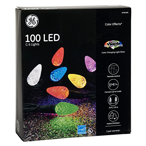 get quotations ge color effects 100 count 33 ft multi function color changing c5 led