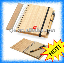 natural genuine spiral bamboo notebook with pen