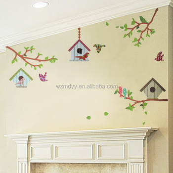 vinyl wall sticker bird cage removable wall decal flying birds
