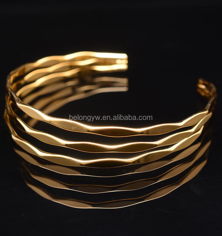 Blcb0086 Wholesale Price Diamond Cut Multi Layer Simple Gold ...