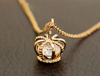 cross crown diamond golden necklace-gold crown necklace