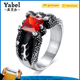 Personality Trend Dragon Claws Single Stone Titanium Ruby Finger Ring
