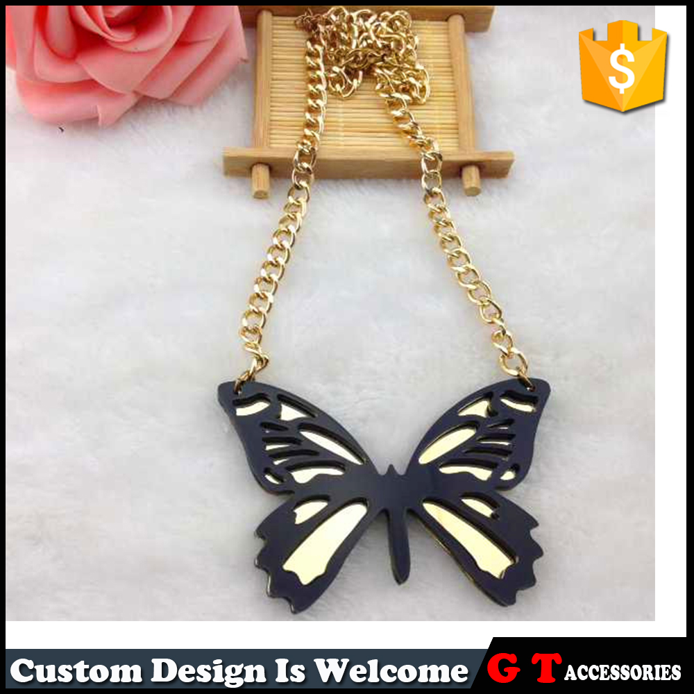 Promotion Punk Jewelries Black Butterfly Pendant Gold Chain Acrylic Necklace For nightclub Woman