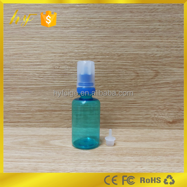 30ml PET e liquid bottle light blue with flat double colors childproof and tamper cap