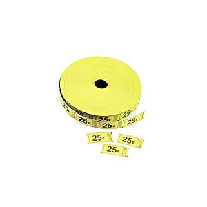 Yellow 25 Cents Single Roll Tickets (2000 tickets) - Bulk