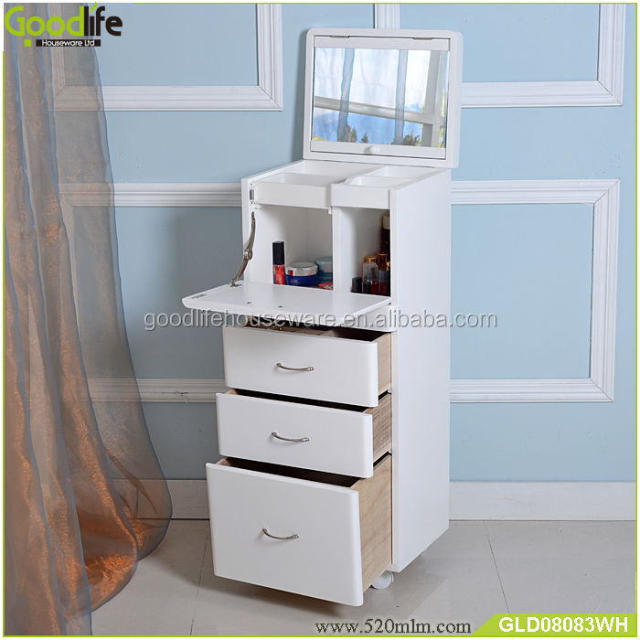 New Arrival Mirrored Wooden Storage Cabinet For Makeup In Bedroom ...