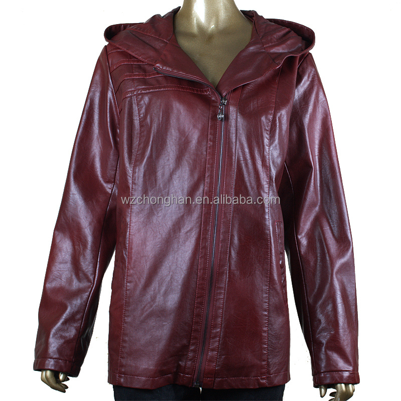 Most popular red pu leather jackets for women