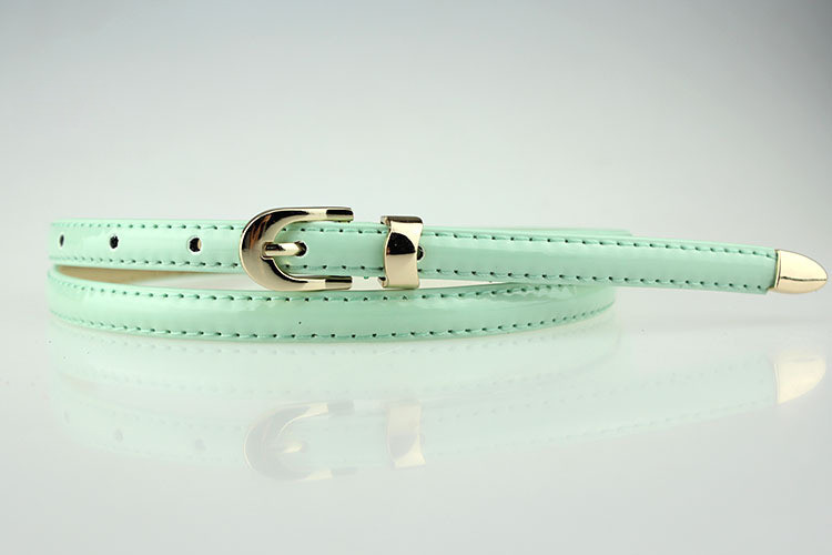 New Fashion Use 12 Colors Fashion Women Candy Color Narrow Thin Skinny Waist Belt Pu Leather Waistband Y1