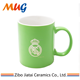 wholesaleindustrial produce factory price zibo China Custom engraved logo 11oz ceramic mug coffee tea cup with green coating