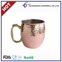 Stainless steel hammered copper plated moscow mule mug