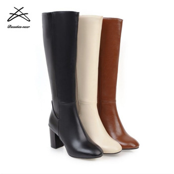 0d4194f54 Pu Leather Fashion Ladies Knee High Heel Winter Long Boots Elegant Sex  Woman Winter Boots - Buy High Quality Knee High Boots,High Heel Boots,Pu  Woman ...