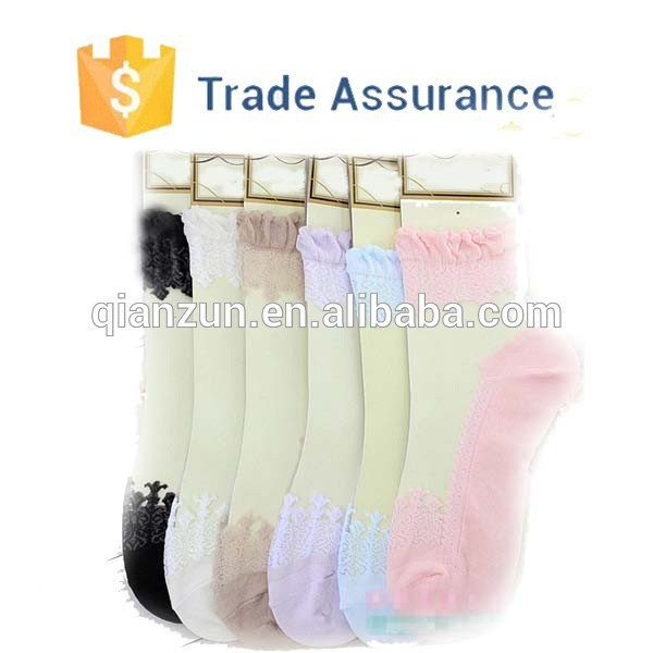 Customized New Thin Transparent Beautiful Lace Boot Socks , Fancy Lace Socks , Bulk Wholesale Socks