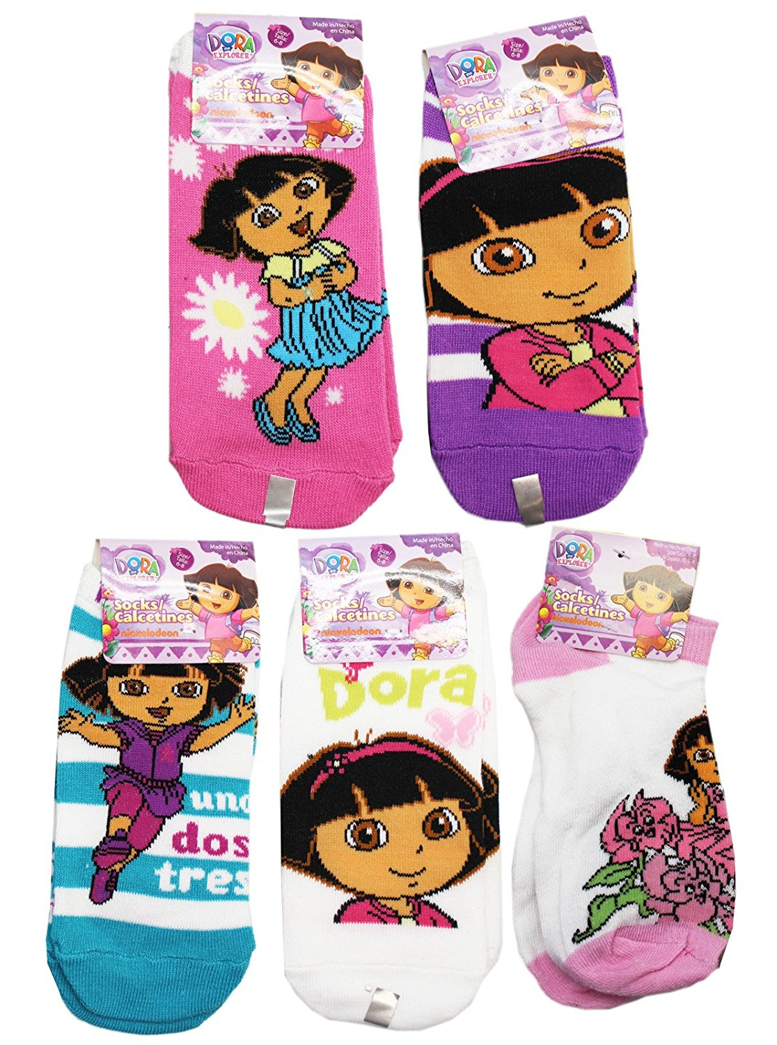 Dora Girls 2-Pack Knee High Socks Black//White Size 6-8