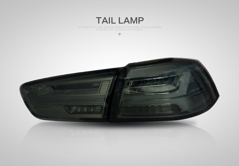 VLAND wholesales accessories Galant/ Lancer Fortis rear light 2008-2017 modificada led tail light  for lancer ex