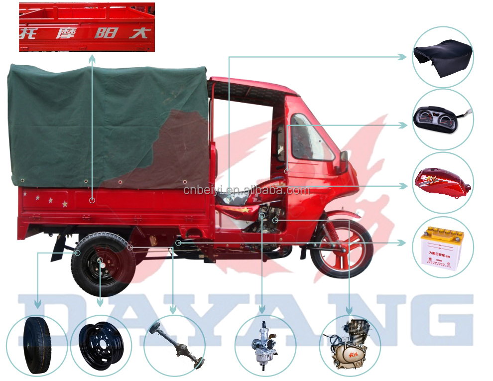 2015 hot sale heavy loading three wheel tarpaulin motor bike with CCC certificate