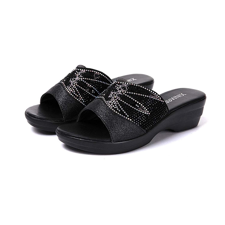4a98604979c1a Get Quotations · GIY Rhinestone Low Wedges Slide Sandals for Women Platform  Comfort Anti-Slip Sparkly Dress Sandals