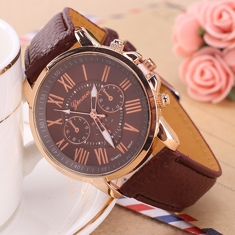 Women's Watches Fashion Geneva Brand Roman Numerals Faux Leather Quartz Wrist Watch Women Female hours clock