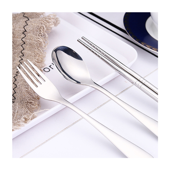 Best selling products cute chopsticks fork and spoon camping dinner set birthday party tableware set stainless steel