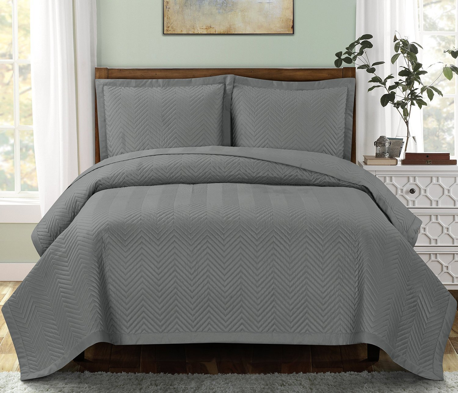 "Chervon-Grey-California King Size, Over-Sized Quilt 3pc set, Luxury Microfiber Coverlet 110""x96"" 2- Pillow Shams 20x36"""
