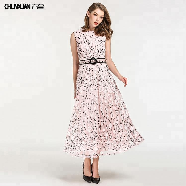 Women floral long maxi <strong>dress</strong> with belt design