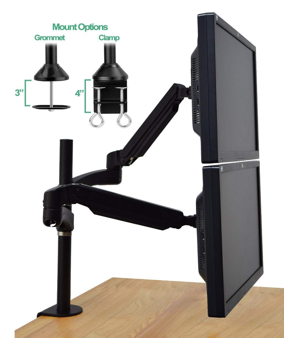 "Halter Dual Monitor Mount - Adjustable Monitor Stand - Dual Stacking Arm w/Desk Clamp - Dual LCD LED Monitor or Laptop - Up To 27"" Inch Screens"