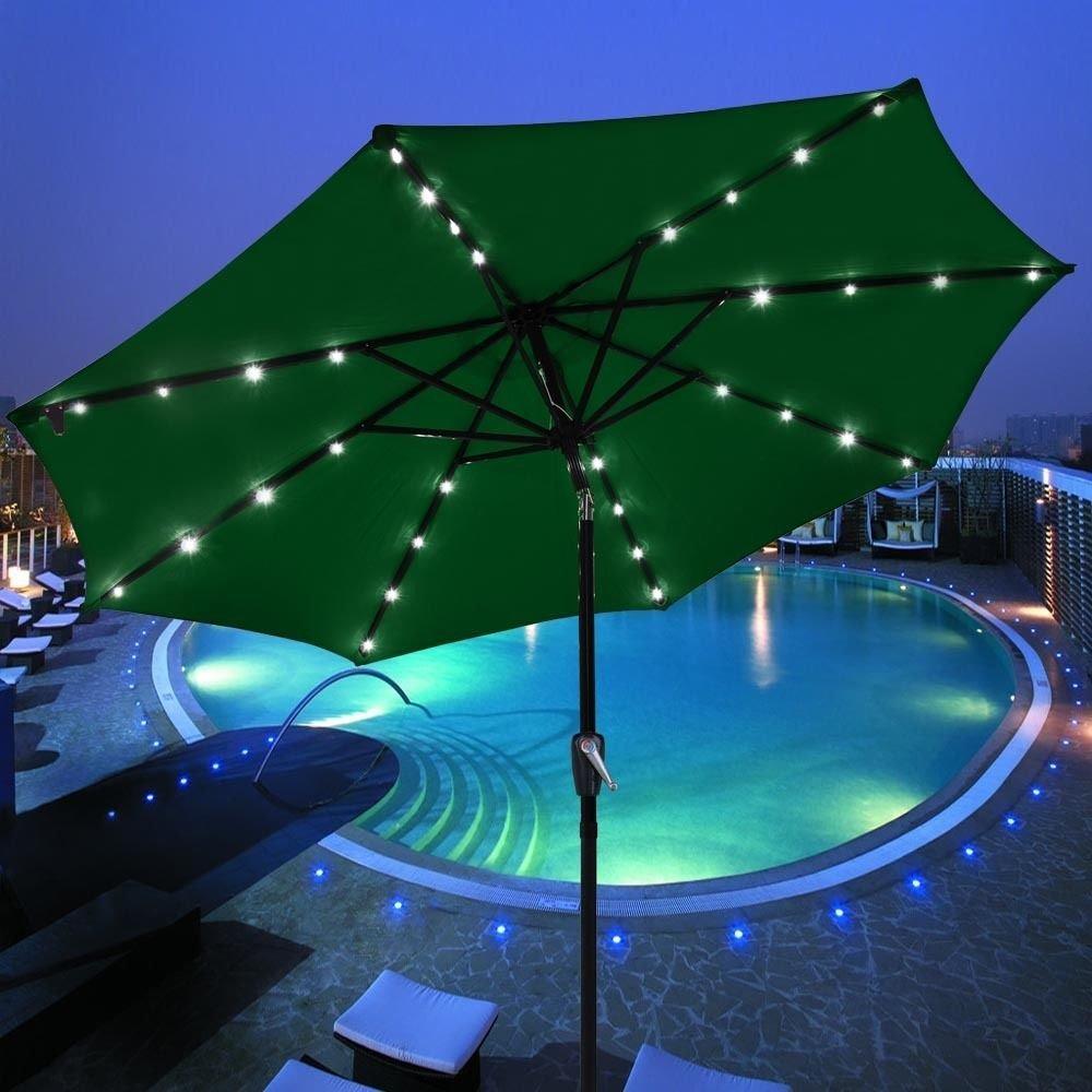 Get Quotations · GHP 9u0027 Aluminum Green Outdoor Patio Solar Powered Umbrella  W 32 LED Lights