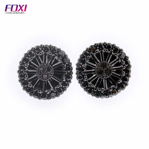 guangxi foxi jewelry free sample free shipping black color pizza shape stud earrings