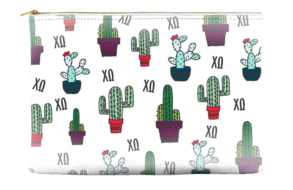 Chi Omega (ChiO) Cactus Pattern White Cosmetic Accessory Pouch Bag for Makeup Jewelry & other Essentials