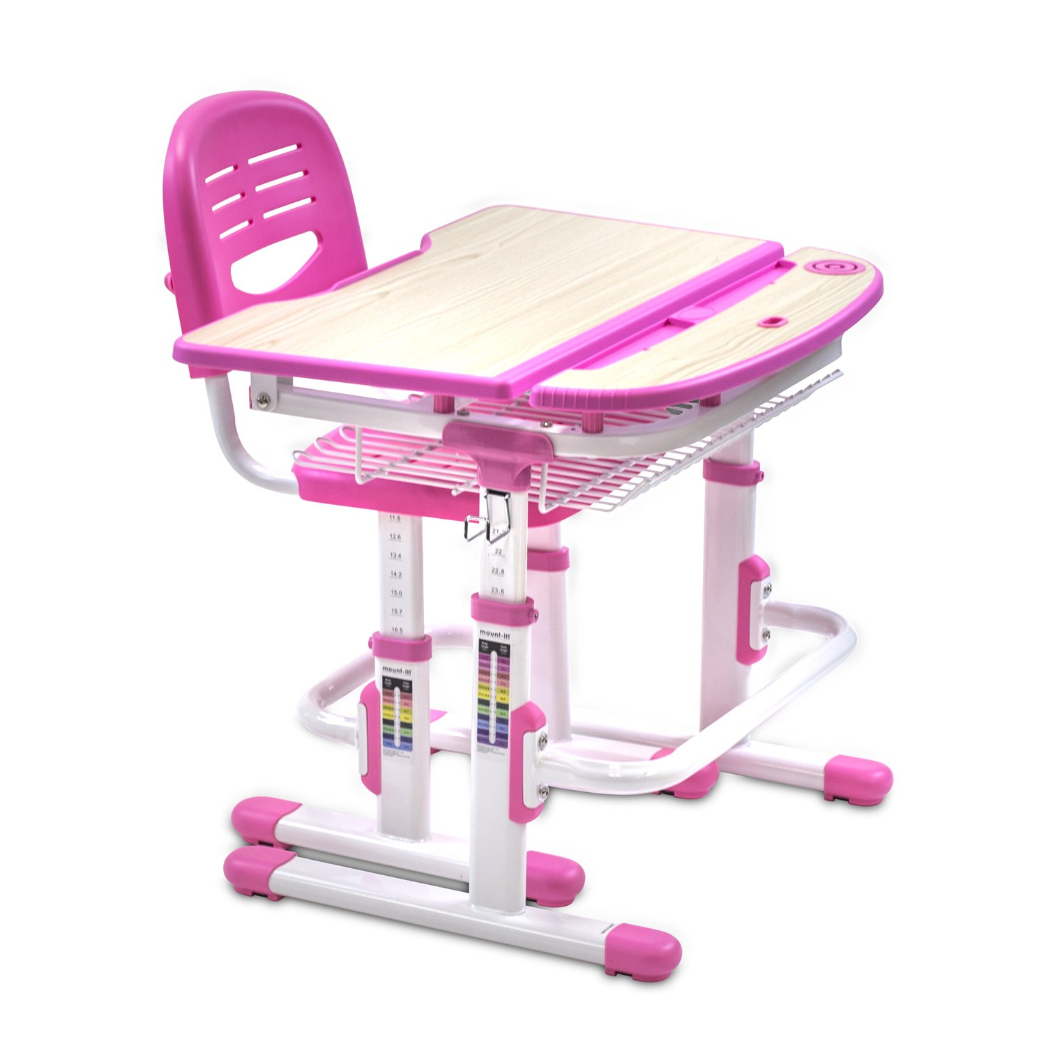 Get Quotations · Mount It! Height Adjustable Student Desk, Children Desk  And Chair Set, School