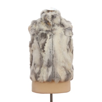 QD30406 Hot Sale Women Real Rabbit Fur Short Vest with Stand Collar