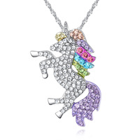 WL450 Huilin Jewelry hot selling crystal Unicorn pendant necklace personal Amulet animal necklace wholesale