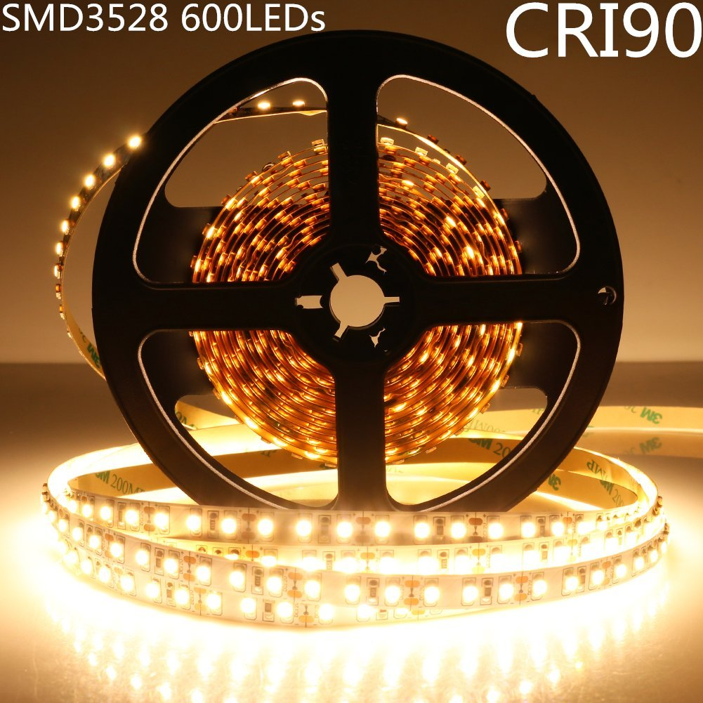LightingWill LED Strip Light CRI90 SMD3528 16.4Ft(5M) 600LEDs Warm White 3000K-3500K 120LEDs/M DC12V 48W 9.6W/M 8mm White PCB Flexible Ribbon Strip with Adhesive Tape Non-Waterproof H3528WW600N
