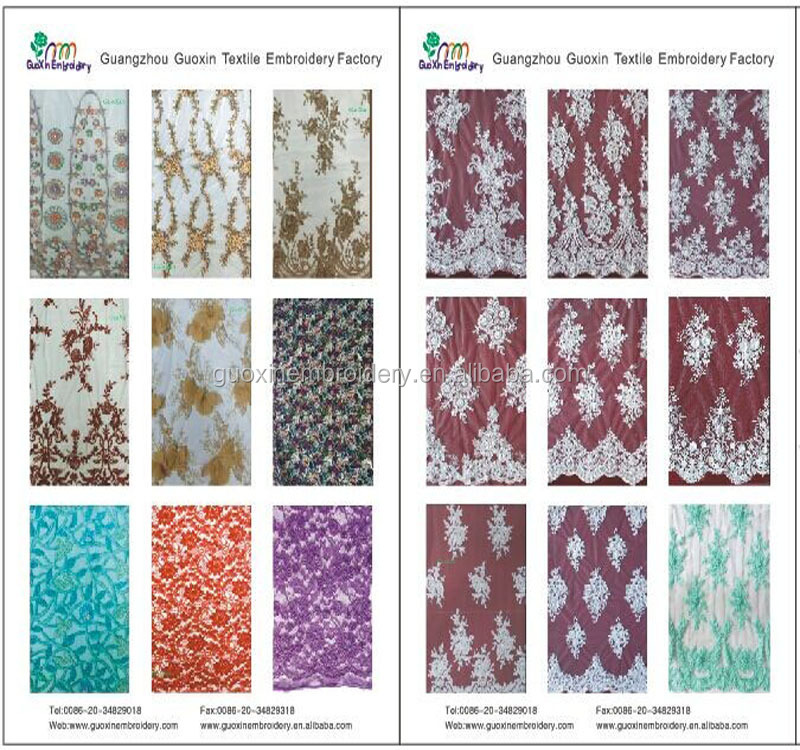 Water Soluble Embroidery Garment French Lace Fabric with bead
