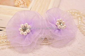 Fancy Organza Fabric Flower With Pearl Center,Blooming Flower Accessories For Headband