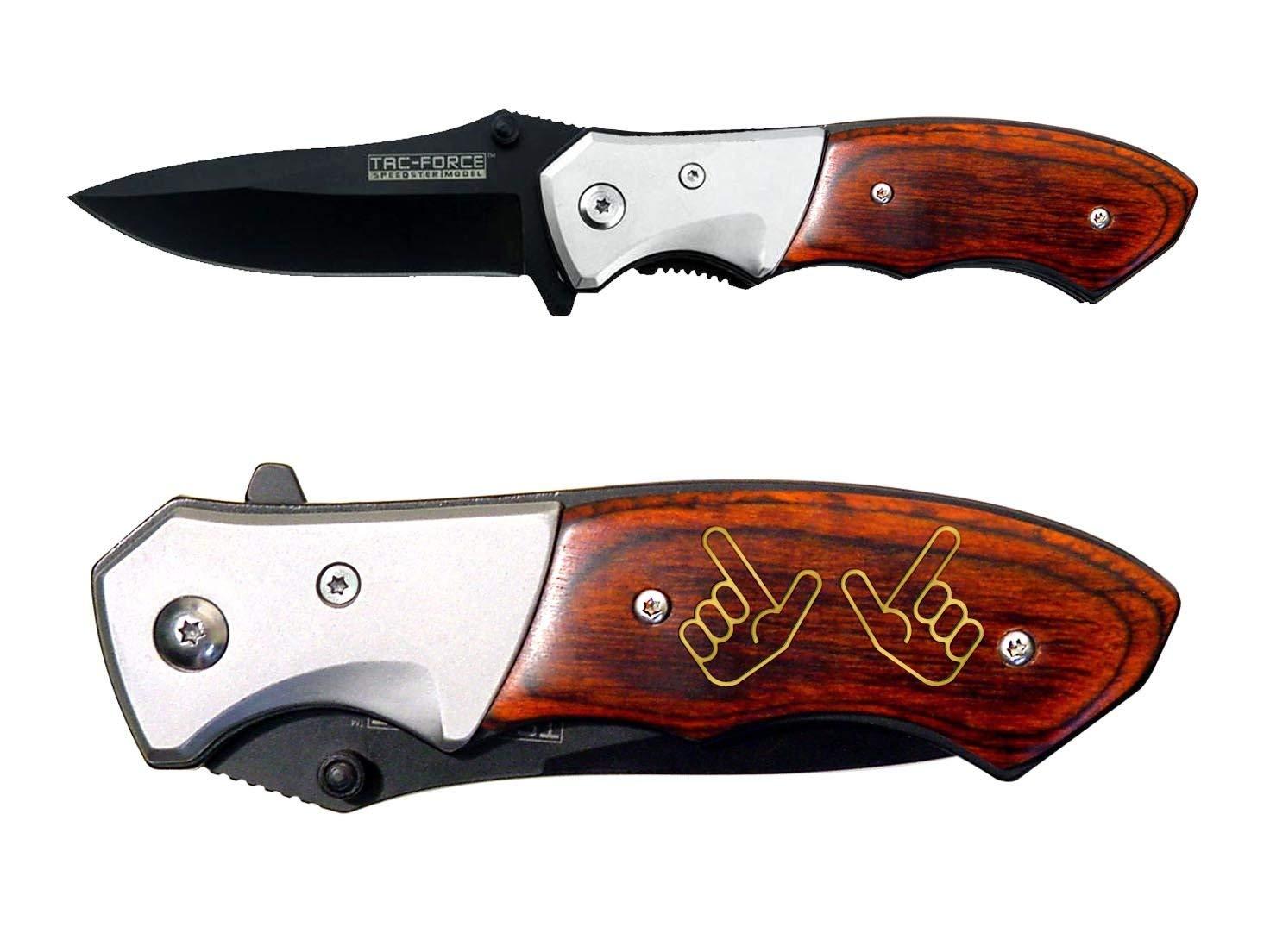 Tac-Force 3'' Spring Assisted Pocket Knife TF468 NDZ Red Raiders Guns Up Hand Symbol Texas Tech