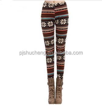 3a9a2468eebab Factory outlet winter leggings Christmas printed thick warm leggings fur  lined leggings