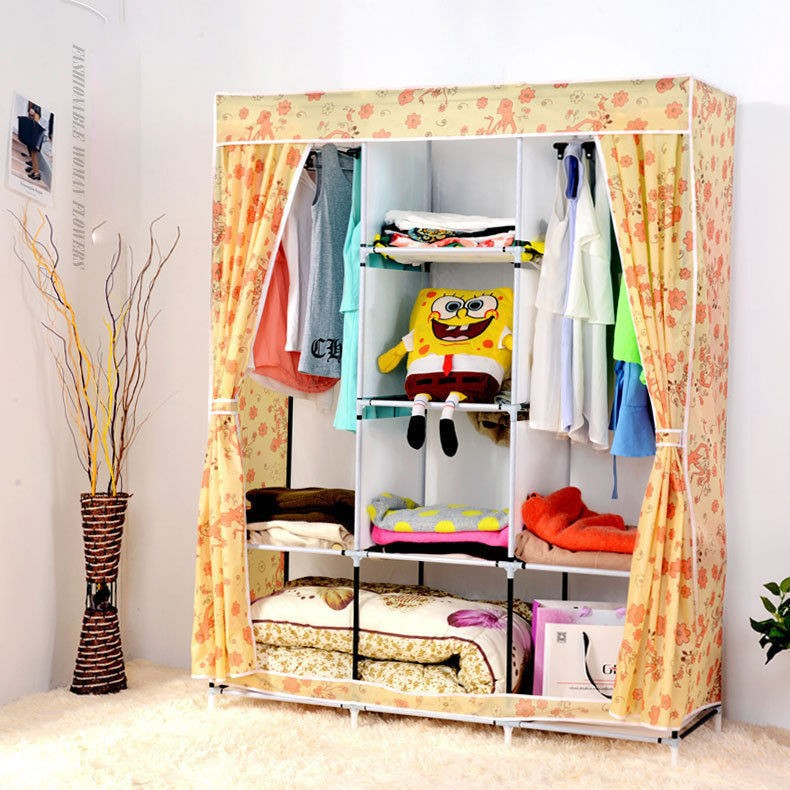 Yellow Cute Portable Wardrobe Clothes Rack Shelves Closet Storage Organizer    Buy Portable Clothes Closet,Clothes Rack,Diy Portable Closet Wardrobe  Product ...