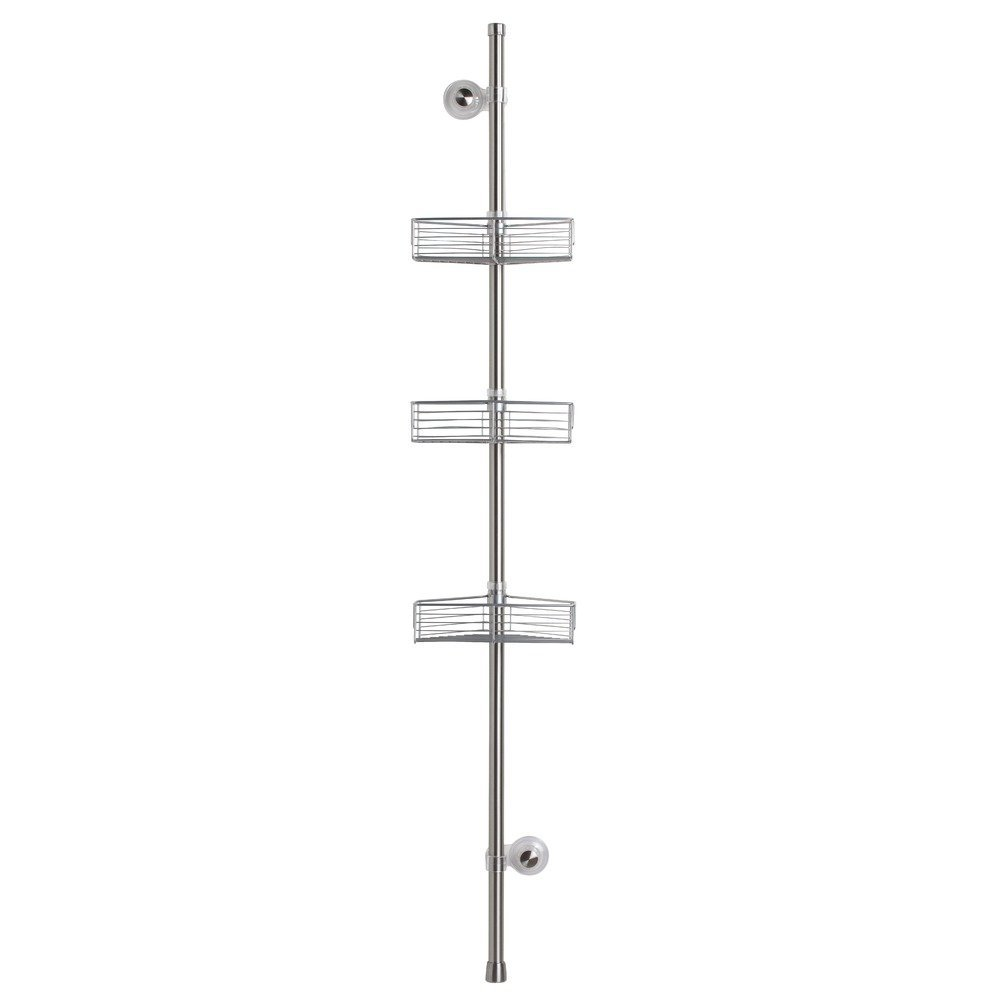 InterDesign Forma Standing Shower Caddy Corner Station – Suction Bathroom Storage Shelves for Shampoo, Conditioner and Soap, Brushed Stainless Steel/Silver