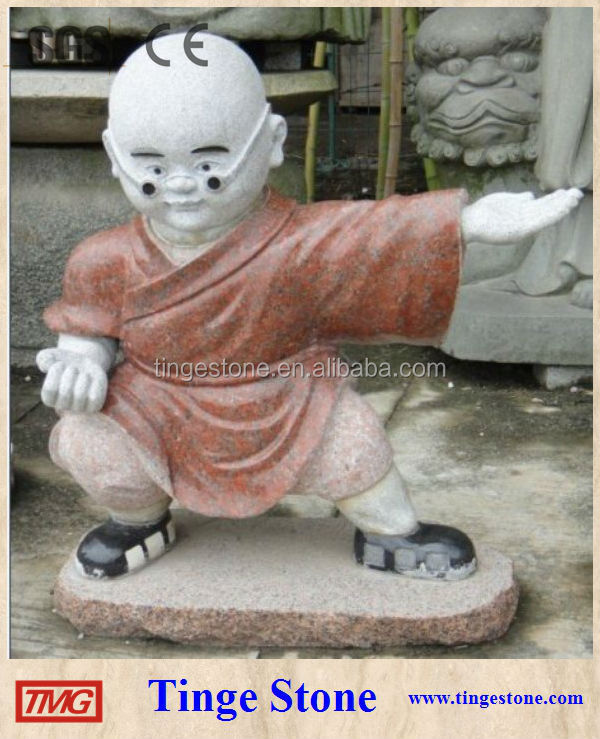Temple monk statues with red granite clothes carved sculptures