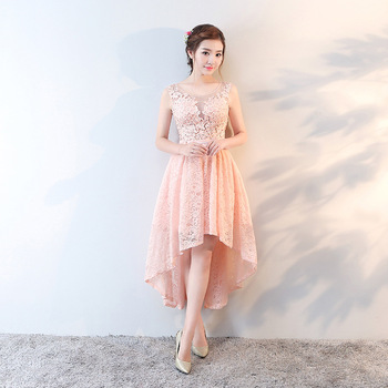 2018 Primavera Elegante De Encaje De Color Rosa Vestido De Cóctel Frente Corto Espalda Larga Noche Vestido De Prom Buy Vestido De Cóctel Largo