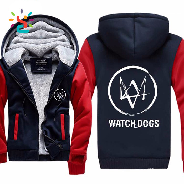 Wholesale bulk zipper hoodie watch dogs 2 jacket mens two tone hoody custom Fleece Plain Long Sleeve Pullover Gym hoodies