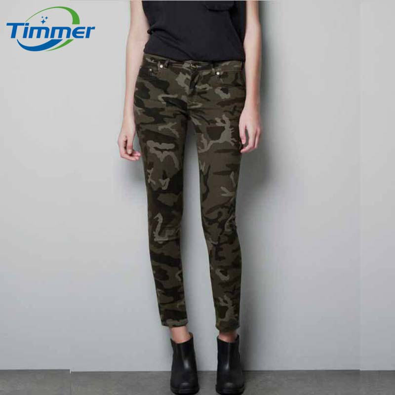 Annual Popular Camouflage Slim Elastic Women Pants Women's ...