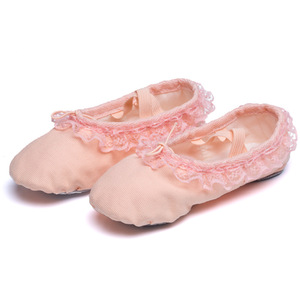 Wholesale Lovely Red Pink Flesh Lace Attached Canvas Ballet Shoes for Kids