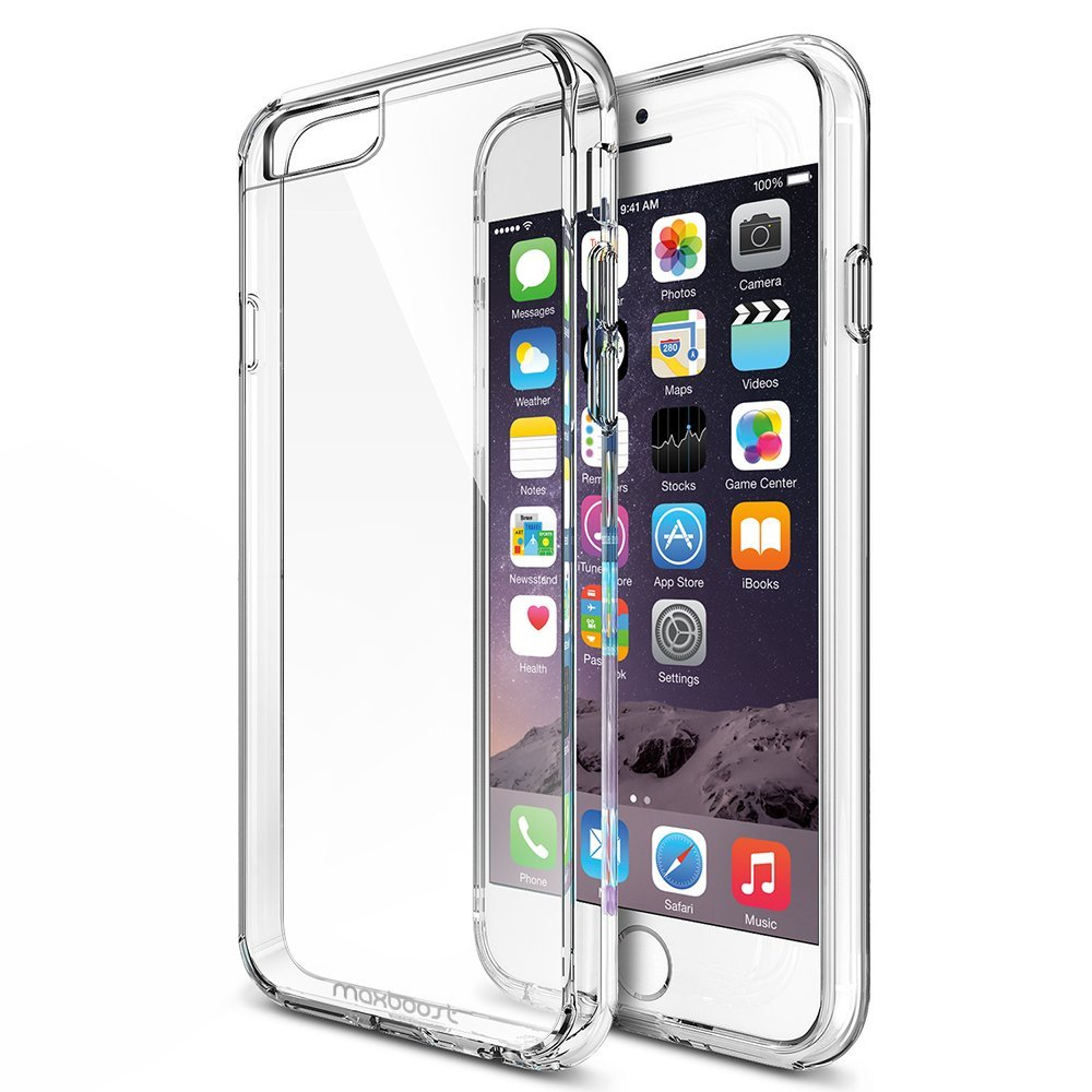 fd889cc1816 Get Quotations · iPhone 6 Plus Case, Maxboost [Clear Cushion] Seamless  integrated Shock-Absorbing Clear