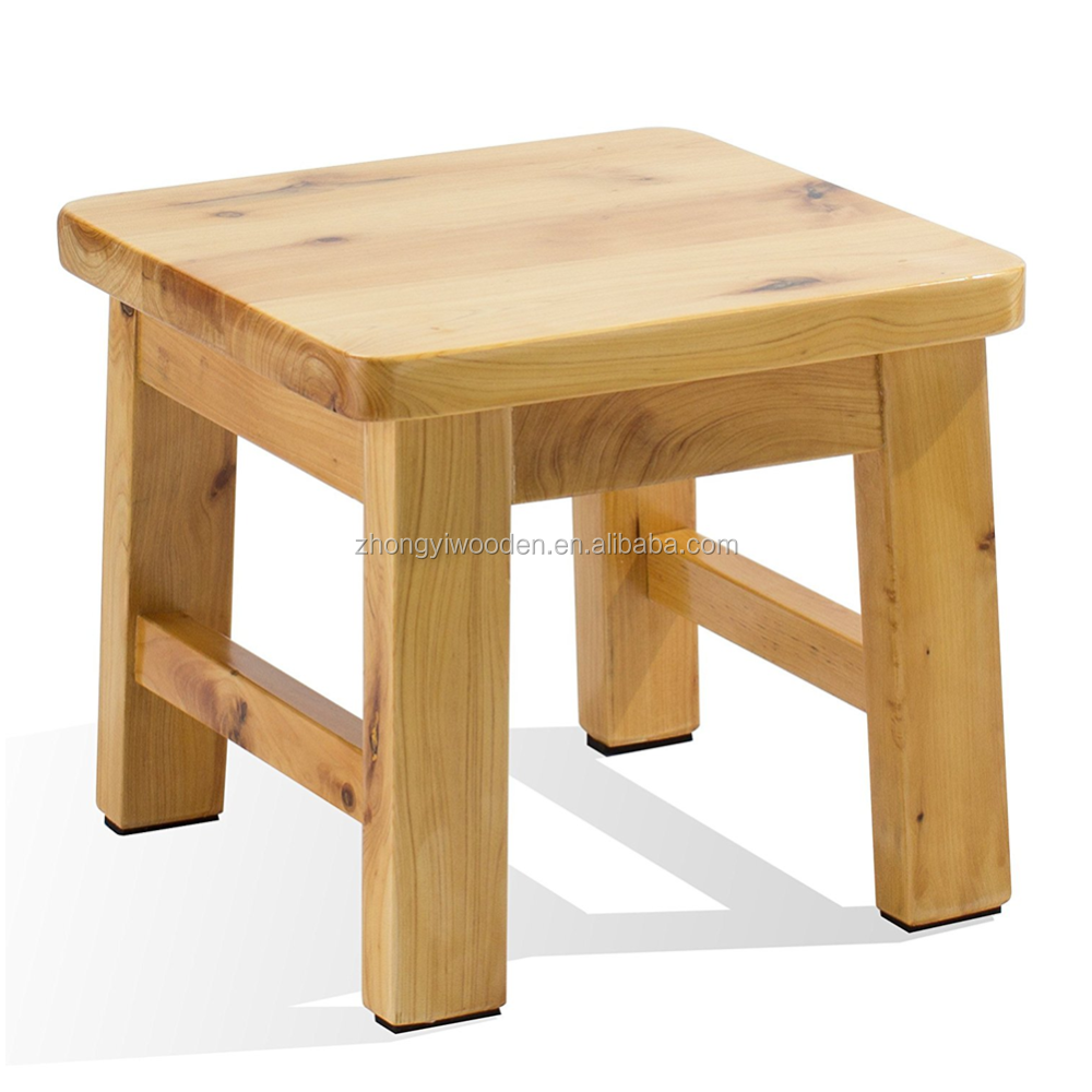 Natural handmade craft custom small cute wooden square step stool